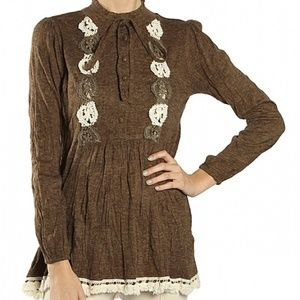 CROCHET EMBROIDERED LONG SLEEVE TUNIC-BROWN
